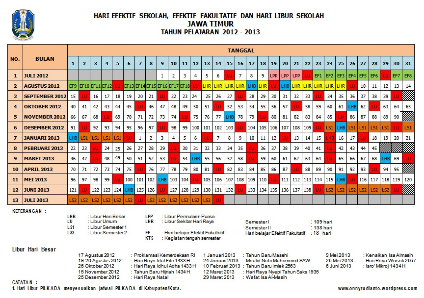 Kalender Pendidikan Th 2012 2013 Propinsi Jawa Timur Revisi Media Guru