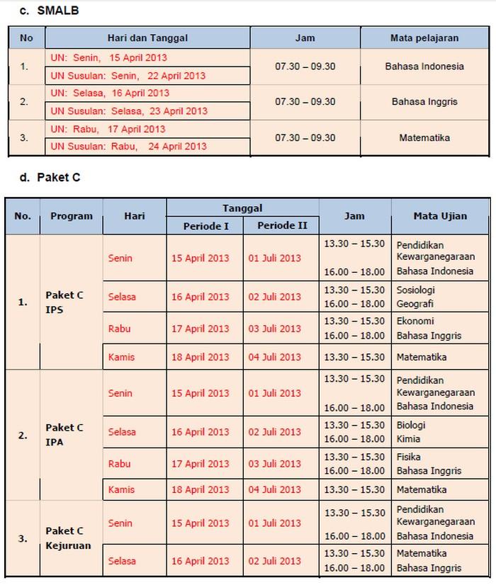 Jadwal UN untuk jenjang SD/MI, SMP/MTs, SMA/MA, dan SMK tahun 2013